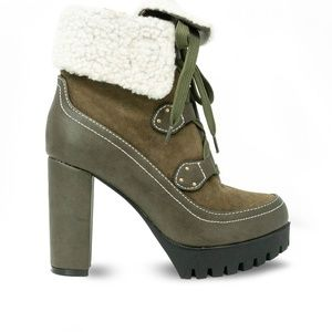 Women's Olive Shearling Chunky Platform Booties
